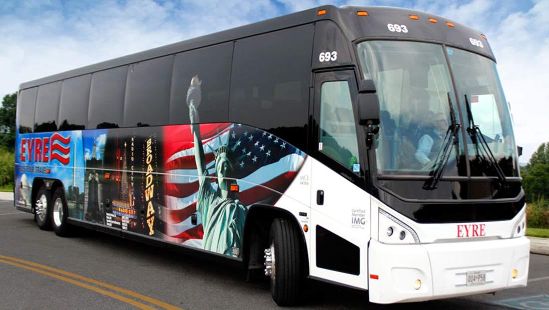 A 47 passenger Eyre charter bus.