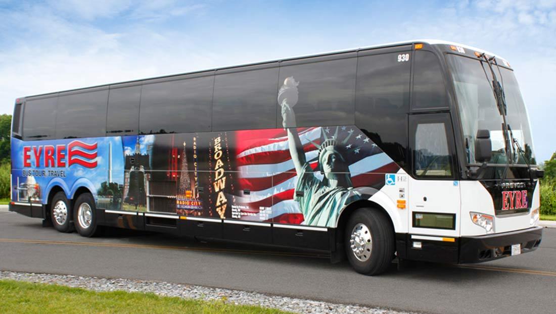 A 56 passenger charter bus rental.